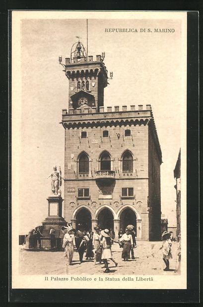 AK S. Marino, Il Palazzo Pubblico e la Statua della Liberta