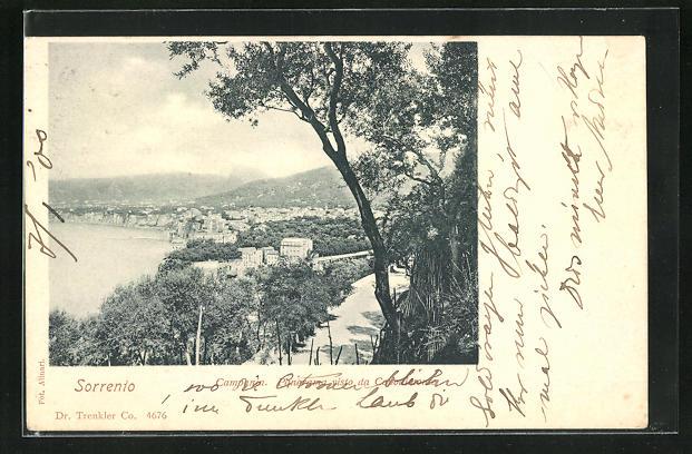AK Sorrento, Blick von einer Anhöhe auf die Ortschaft
