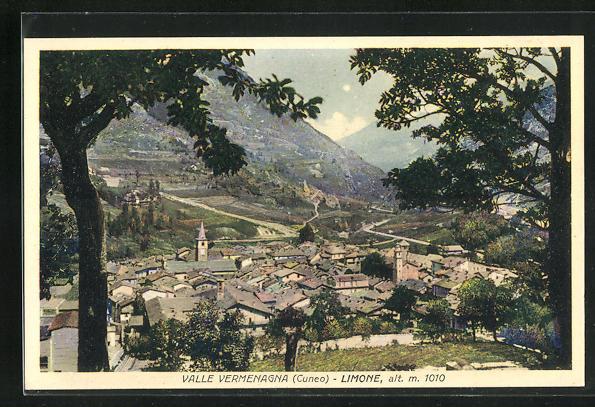 AK Limone, Blick auf den Ort im Valle Vermenagna