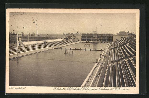 AK Düsseldorf, Stadion, Blick auf Schwimmbecken und Tribünen