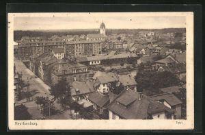 AK Neu-Isenburg, Ortsansicht mit Blick über Häuserdächer auf Kirche