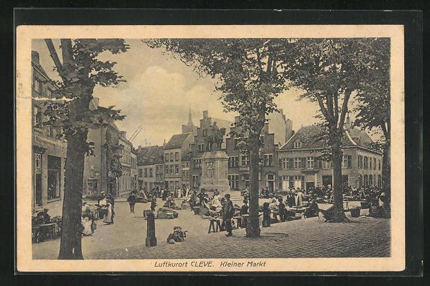 AK Cleve, Kleiner Markt mit Händler, Reiterdenkmal