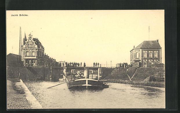 AK Bremen, Partie an der Jacob-Brücke mit Schiff