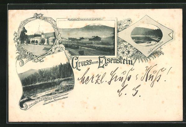 AK Eisenstein, Bahnhof m. d. Arber, Schwarzer See, Kirche