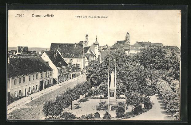 AK Donauwörth, Partie am Kriegerdenkmal
