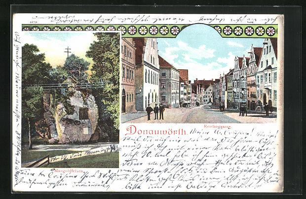 Lithographie Donauwörth, Reichsstrasse, Mongoldfelsen