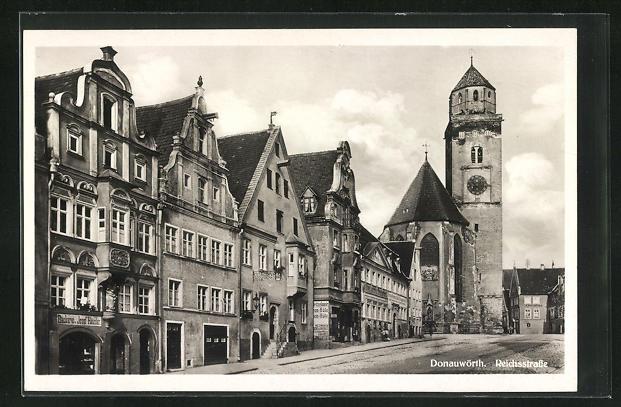 AK Donauwörth, Reichsstrasse mit Turm