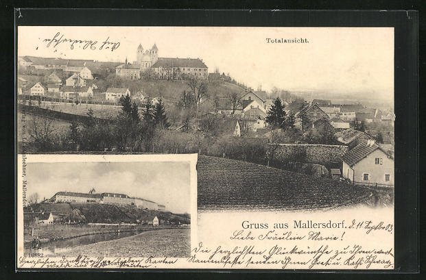 AK Mallersdorf, Totalansicht, Kloster