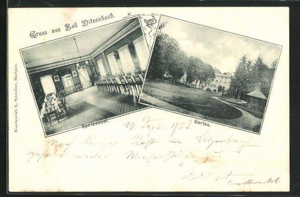AK Bad Ditzenbach, Garten, Innenansicht Speisesaal