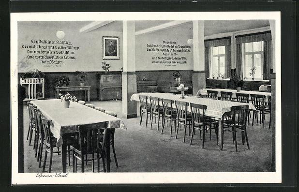 AK Triesdorf, Kreisackerbauschule, Speise-Saal mit Adolf  Bild