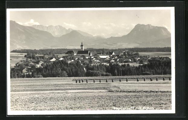 AK Vogtareuth, Totalansicht mit Kirche und Alpen