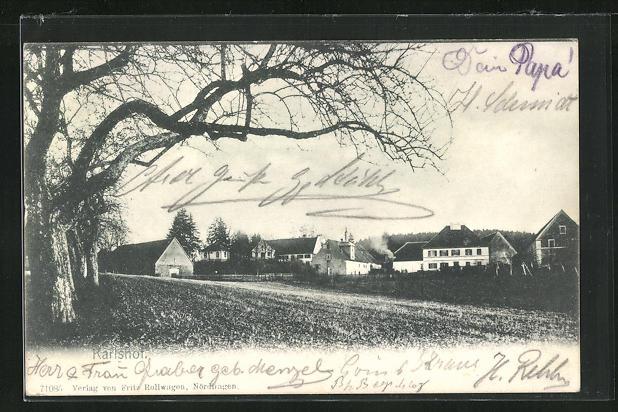 AK Karlshof, Teilansicht mit Häuser und Feld