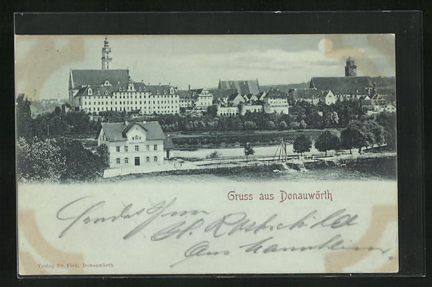 Mondschein-AK Donauwörth, Teilansicht mit Münster und Wallfahrtskirche
