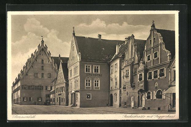 AK Donauwörth, Reichsstrasse mit Fuggerhaus, Apotheke