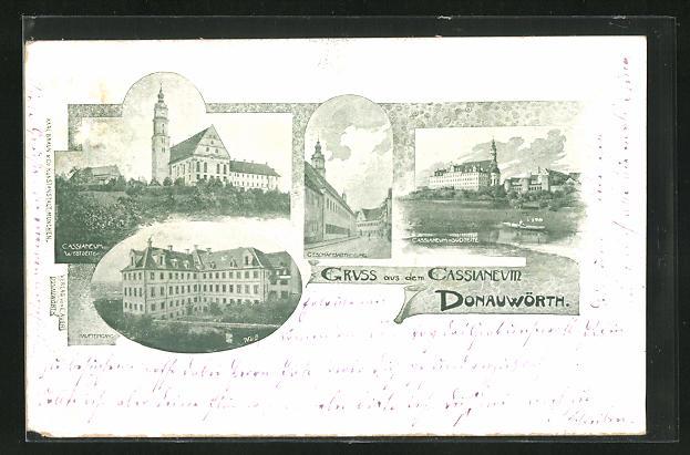 AK Donauwörth, Cassianeum Westseite und Südseite, Haupteingang