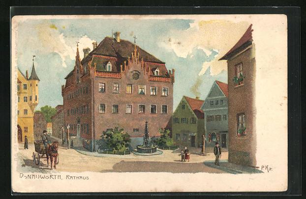 AK Donauwörth, Rathaus und Denkmal, Wasserpumpe