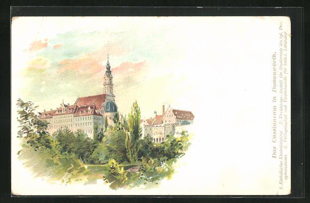 AK Donauwörth, Cassianeum, Eckfassade mit Turm