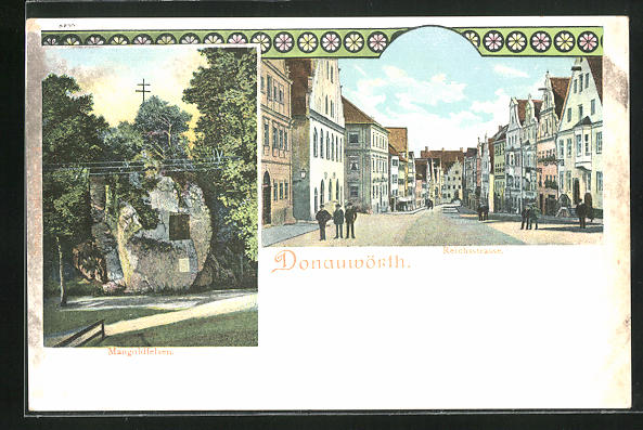 AK Donauwörth, Reichsstrasse, Mangoldfelsen