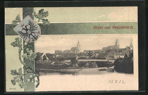 AK Donauwörth, Ortsansicht mit Kirche, Münster und Donau, Wappen