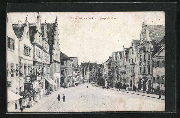 AK Donauwörth, Hauptstrase mit Häuserfassaden und Geschäften