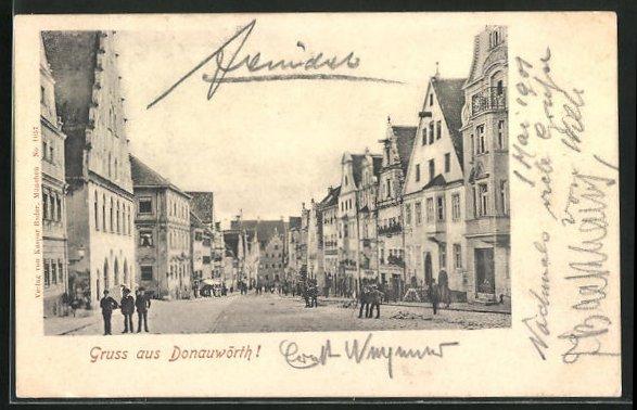 AK Donauwörth, Reichsstrasse mit Häuserfassaden