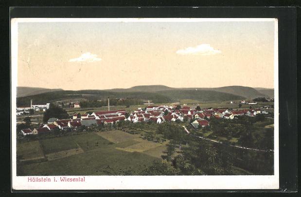 AK Höllstein i. Wiesental, Ortsansicht mit Feldern aus der Vogelschau