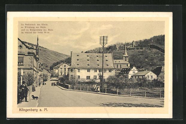 AK Klingenberg a. M., Teilansicht mit Kirche und Landschaft