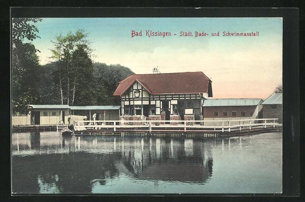 AK Bad Kissingen, Städt. Bade- und Schwimmanstalt
