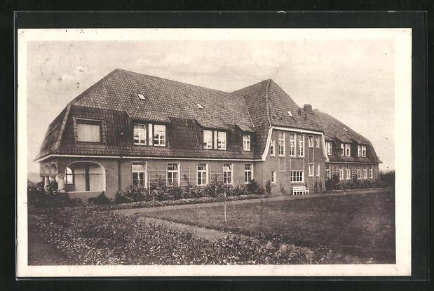 AK Bad Salzuflen, Hotel Bergfrieden, Rückansicht mit Garten