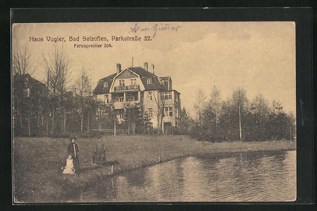 AK Bad Salzuflen, Hotel Haus Vogler, Parkstrasse 52, Uferansicht