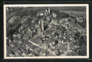 AK Donauwörth, Ortsansicht mit Stadtparrkirche vom Flugzeug aus