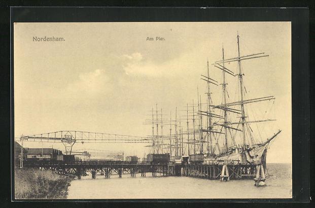 AK Nordenham, Am Pier, Segelschiffe