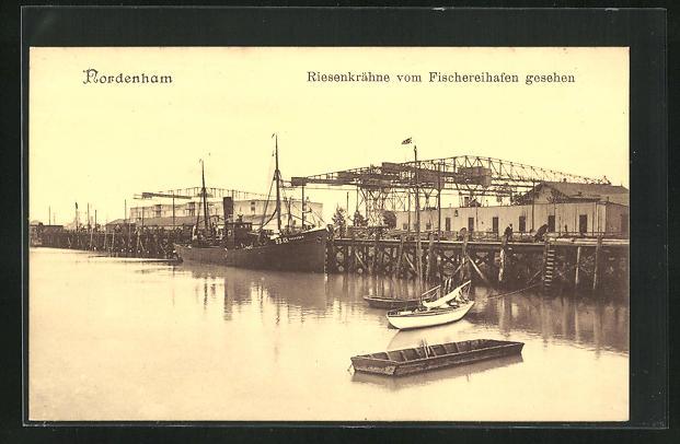 AK Nordenham, Riesenkrähne vom Fischereihafen gesehen, Dampfer Preussen