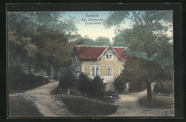 AK Gross-Sedlitz, Gasthaus Pechhütte mit Waldwegen