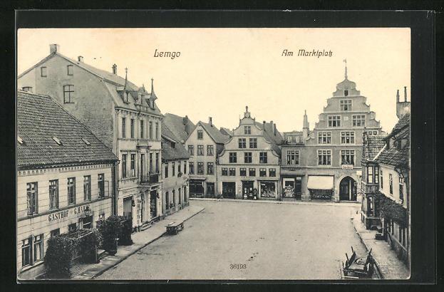 AK Lemgo, Am Marktplatz, Gasthof, Häuserzeilen