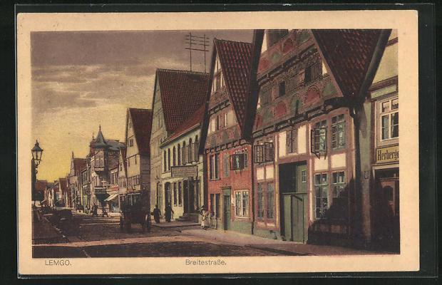 AK Lemgo, Breitestrasse mit alten Häuserfronten