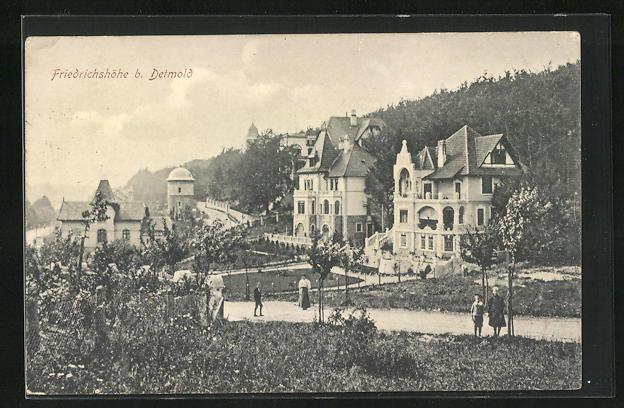 AK Detmold, Villen- und Strassenpartie Villen auf der Friedrichshöhe