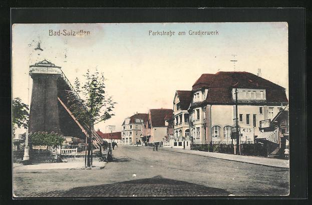 AK Bad Salzuflen, Parkstrasse am Gradierwerk mit Villen