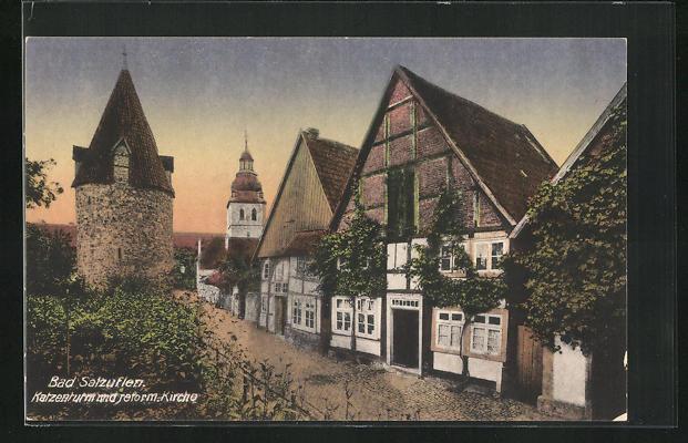 AK Bad Salzuflen, Katzenturm und reform. Kirche, Turmstrasse