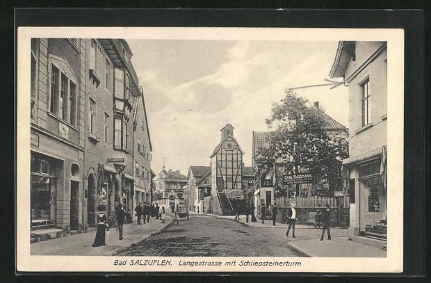 AK Bad Salzuflen, Langestrasse mit Schliepsteinerturm