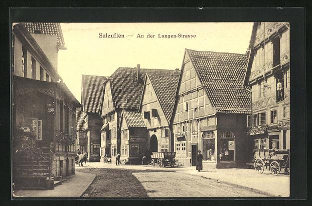 AK Bad Salzuflen, An der Langen Strasse, Fachwerkhäuser