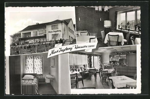 AK Kommern / Eifel, Gaststhaus - Pension Haus Ingeborg, Innenansichten Gasträume u. Schlafzimmer
