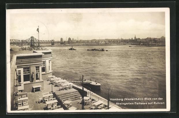 AK Homberg / Niederrhein, Blick von der Rheingarten-Terrasse auf Ruhrort mit Brücke