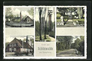 AK Schönwalde, Jugendherberge, Kirche, Milchstrasse und Ehrenmal