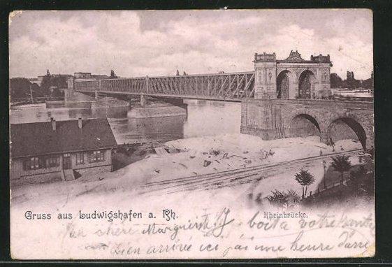 AK Ludwigshafen a. Rh., Ortspartie an der Rheinbrücke