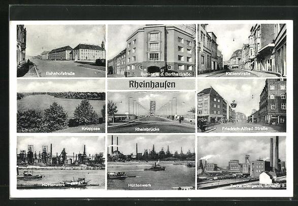 AK Rheinhausen, Bahnhofstrasse, Friedrich-Alfred-Strasse, Hüttenwerk, Zeche Diergardt