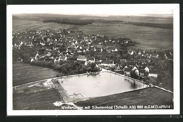 AK Winterlingen, Luftbild mit Schwimmbad
