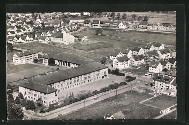 AK Schwenningen / Neckar, Panoramablick mit Friedensschule