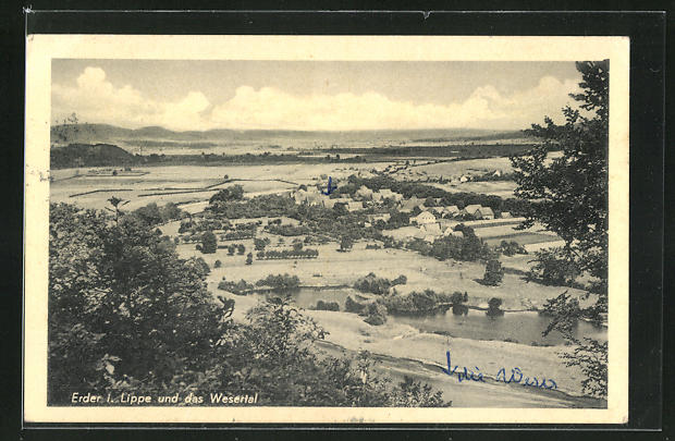 AK Erder / Lippe, Panoramablick in's Wesertal