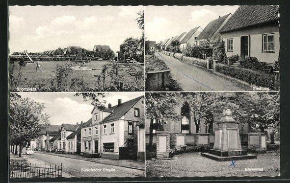 AK Leopoldshöhe / Lippe, Bielefelder Strasse, Ehrenmal, Sportplatz und Siedlung